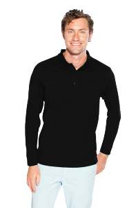 Men`s Heavy Langarm Polo black XXL