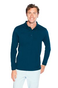 Men`s Heavy Langarm Polo navy XXL